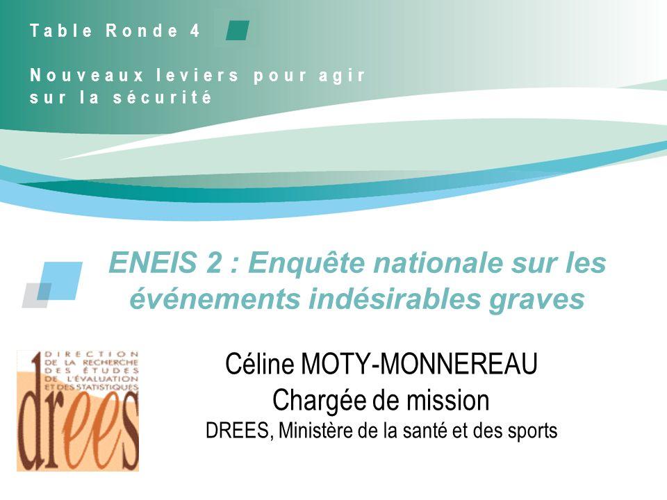 ENEIS 2 : Enquête nationale sur les événements indésirables graves Céline MOTY-MONNEREAU Chargée de mission DREES, Ministère de la santé et des sports