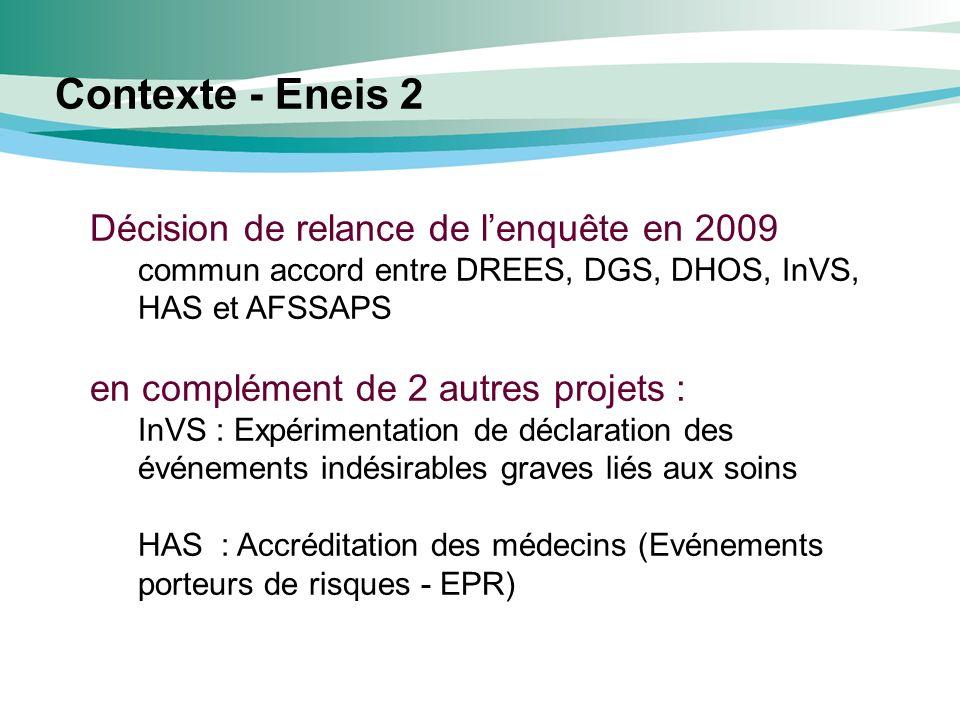 Décision de relance de lenquête en 2009 commun accord entre DREES, DGS, DHOS, InVS, HAS et AFSSAPS en complément de 2 autres projets : InVS : Expérime