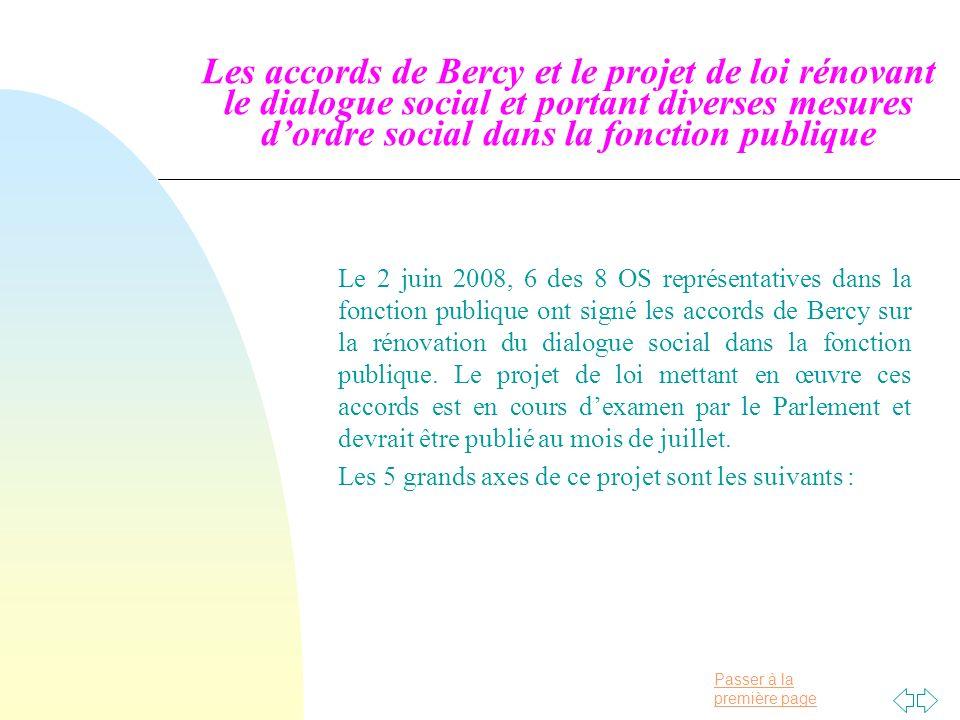 Passer à la première page Les accords de Bercy et le projet de loi rénovant le dialogue social et portant diverses mesures dordre social dans la fonction publique Le 2 juin 2008, 6 des 8 OS représentatives dans la fonction publique ont signé les accords de Bercy sur la rénovation du dialogue social dans la fonction publique.