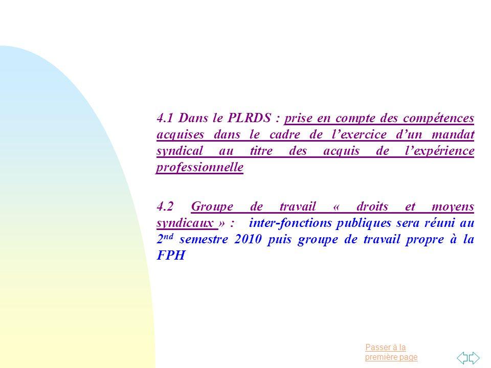 Passer à la première page 4.1 Dans le PLRDS : prise en compte des compétences acquises dans le cadre de lexercice dun mandat syndical au titre des acquis de lexpérience professionnelle 4.2 Groupe de travail « droits et moyens syndicaux » : inter-fonctions publiques sera réuni au 2 nd semestre 2010 puis groupe de travail propre à la FPH