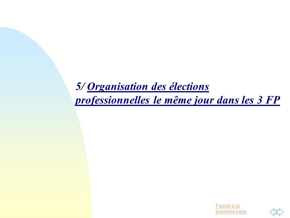 Passer à la première page 5/ Organisation des élections professionnelles le même jour dans les 3 FP