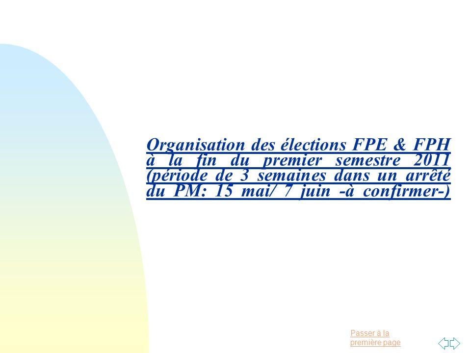 Passer à la première page Organisation des élections FPE & FPH à la fin du premier semestre 2011 (période de 3 semaines dans un arrêté du PM: 15 mai/ 7 juin -à confirmer-)