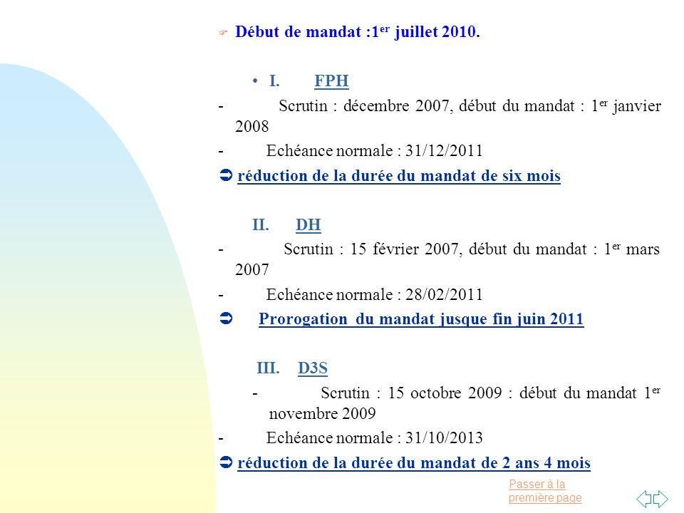 Passer à la première page F Début de mandat :1 er juillet 2010.