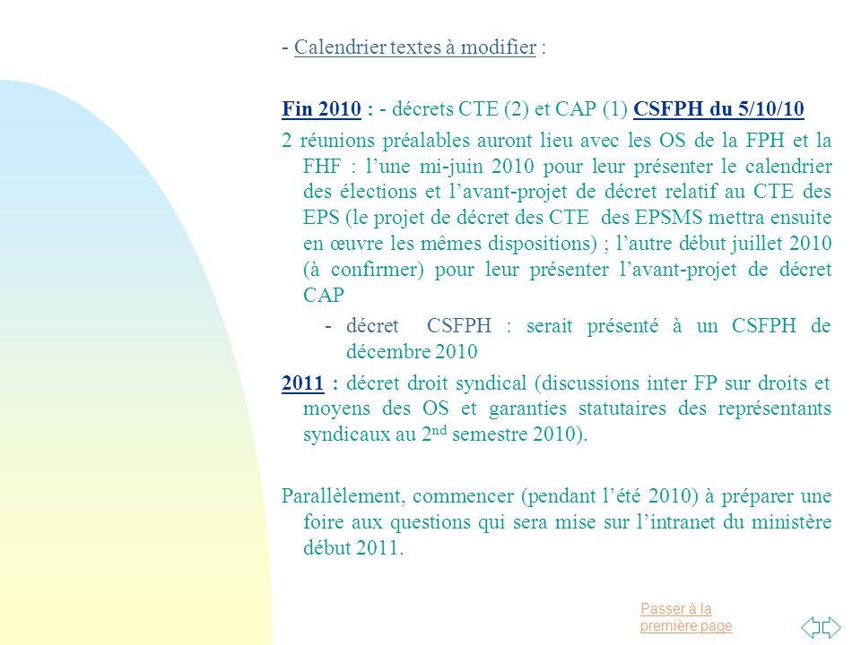 Passer à la première page - Calendrier textes à modifier : Fin 2010 : - décrets CTE (2) et CAP (1) CSFPH du 5/10/10 2 réunions préalables auront lieu avec les OS de la FPH et la FHF : lune mi-juin 2010 pour leur présenter le calendrier des élections et lavant-projet de décret relatif au CTE des EPS (le projet de décret des CTE des EPSMS mettra ensuite en œuvre les mêmes dispositions) ; lautre début juillet 2010 (à confirmer) pour leur présenter lavant-projet de décret CAP - décret CSFPH : serait présenté à un CSFPH de décembre 2010 2011 : décret droit syndical (discussions inter FP sur droits et moyens des OS et garanties statutaires des représentants syndicaux au 2 nd semestre 2010).