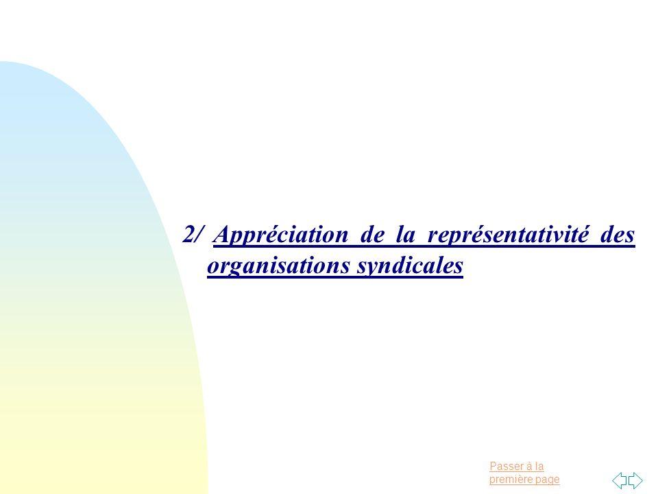 Passer à la première page 2/ Appréciation de la représentativité des organisations syndicales