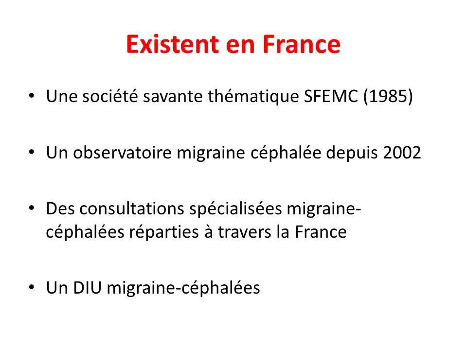 Existent en France Une société savante thématique SFEMC (1985) Un observatoire migraine céphalée depuis 2002 Des consultations spécialisées migraine-