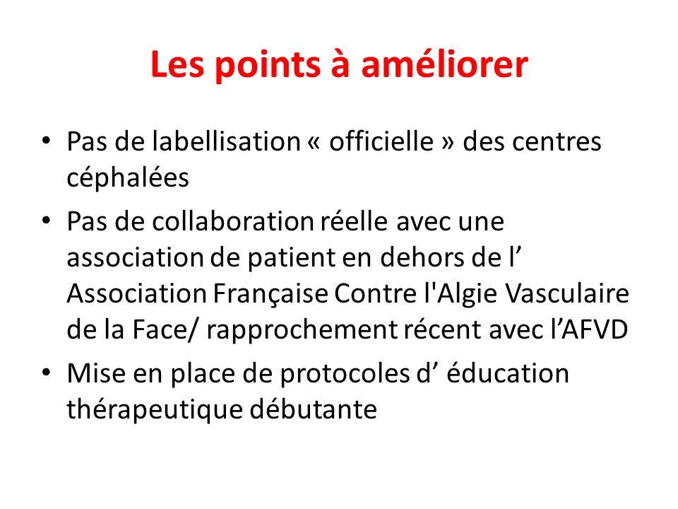 Les points à améliorer Pas de labellisation « officielle » des centres céphalées Pas de collaboration réelle avec une association de patient en dehors