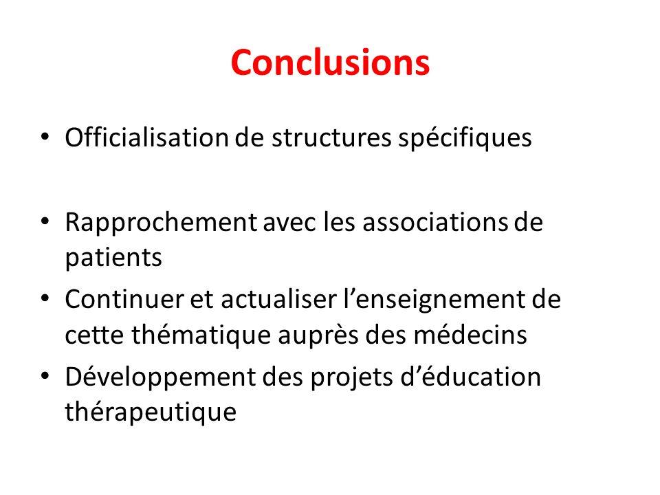 Conclusions Officialisation de structures spécifiques Rapprochement avec les associations de patients Continuer et actualiser lenseignement de cette t