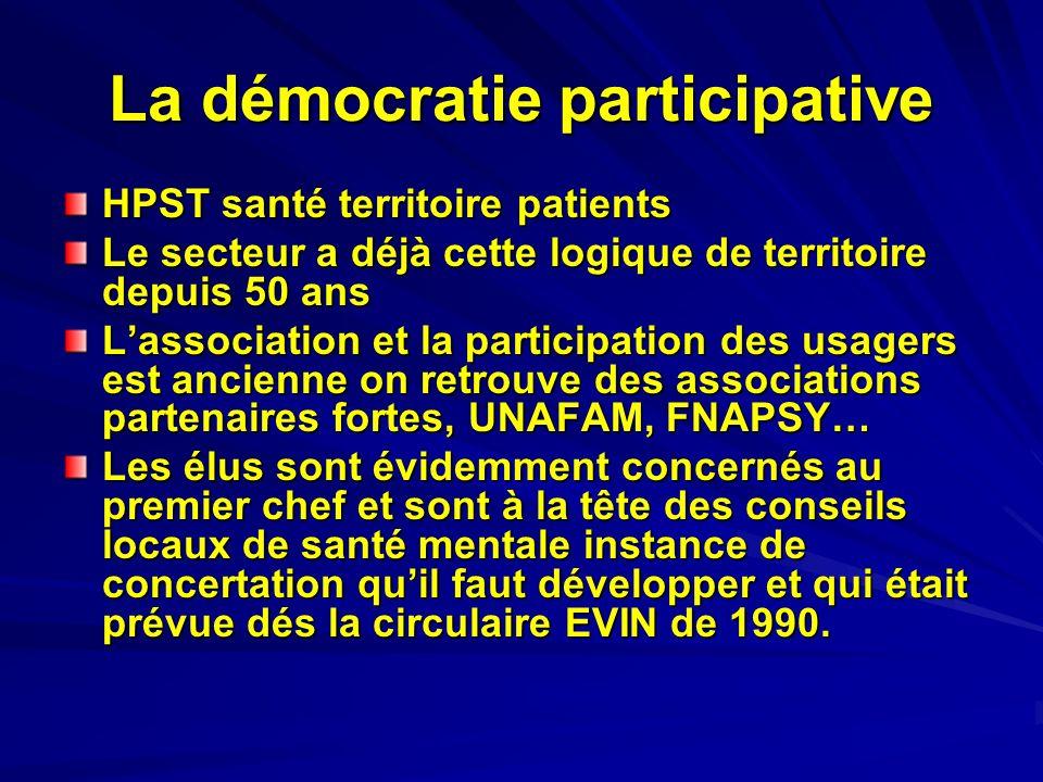 La démocratie participative HPST santé territoire patients Le secteur a déjà cette logique de territoire depuis 50 ans Lassociation et la participatio