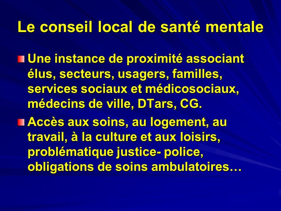 Le conseil local de santé mentale Une instance de proximité associant élus, secteurs, usagers, familles, services sociaux et médicosociaux, médecins d
