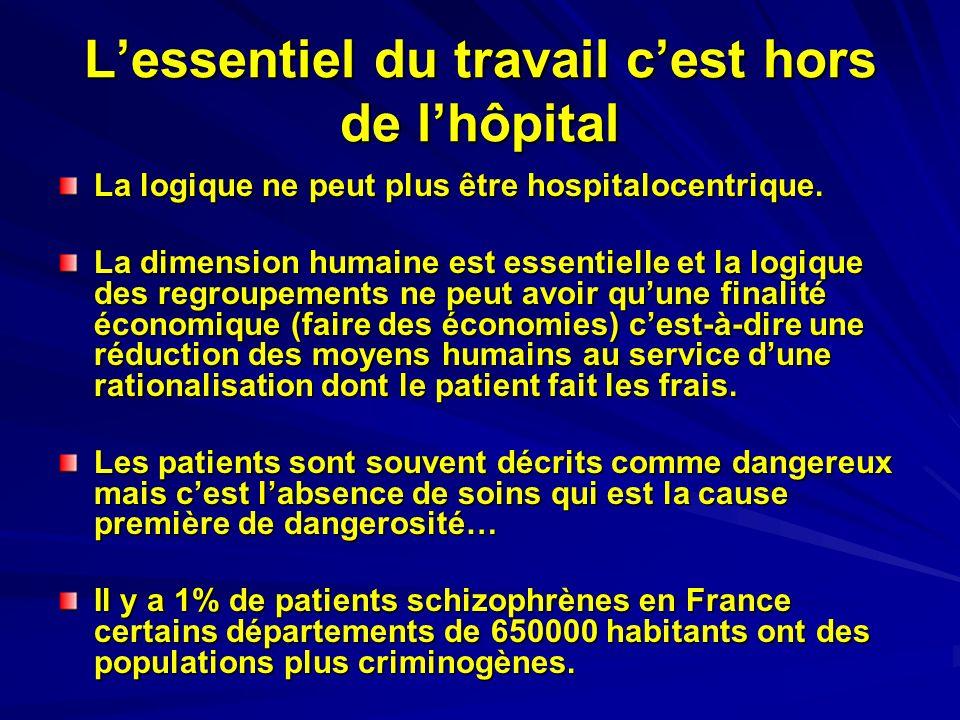 Lessentiel du travail cest hors de lhôpital La logique ne peut plus être hospitalocentrique. La dimension humaine est essentielle et la logique des re