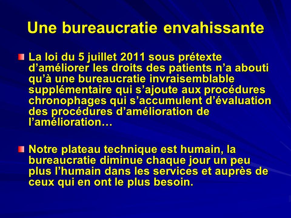 Une bureaucratie envahissante La loi du 5 juillet 2011 sous prétexte daméliorer les droits des patients na abouti quà une bureaucratie invraisemblable