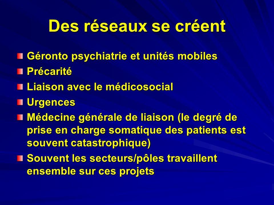 Des réseaux se créent Géronto psychiatrie et unités mobiles Précarité Liaison avec le médicosocial Urgences Médecine générale de liaison (le degré de