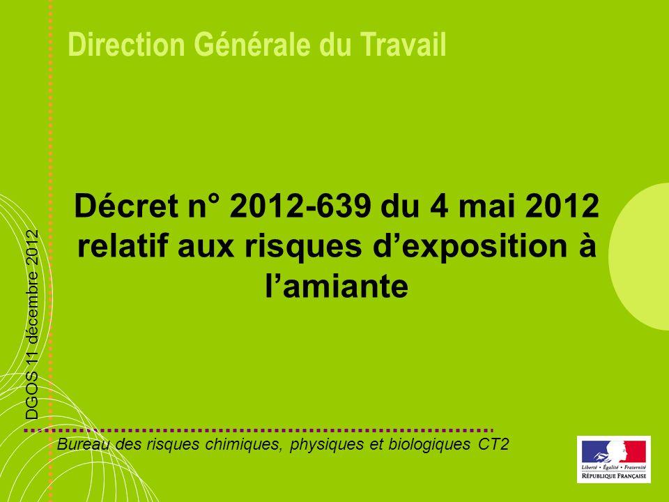 Direction Générale du Travail Décret n° 2012-639 du 4 mai 2012 relatif aux risques dexposition à lamiante DGOS 11 décembre 2012 Bureau des risques chi