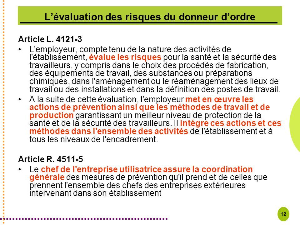 12 Lévaluation des risques du donneur dordre Article L. 4121-3 L'employeur, compte tenu de la nature des activités de l'établissement, évalue les risq