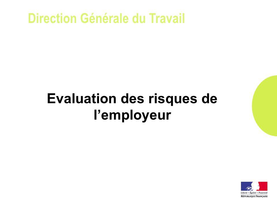 Direction Générale du Travail Evaluation des risques de lemployeur