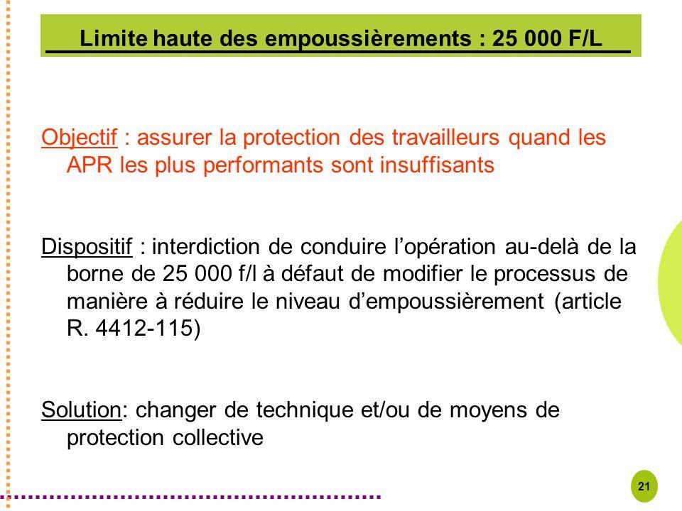 21 Limite haute des empoussièrements : 25 000 F/L Objectif : assurer la protection des travailleurs quand les APR les plus performants sont insuffisan