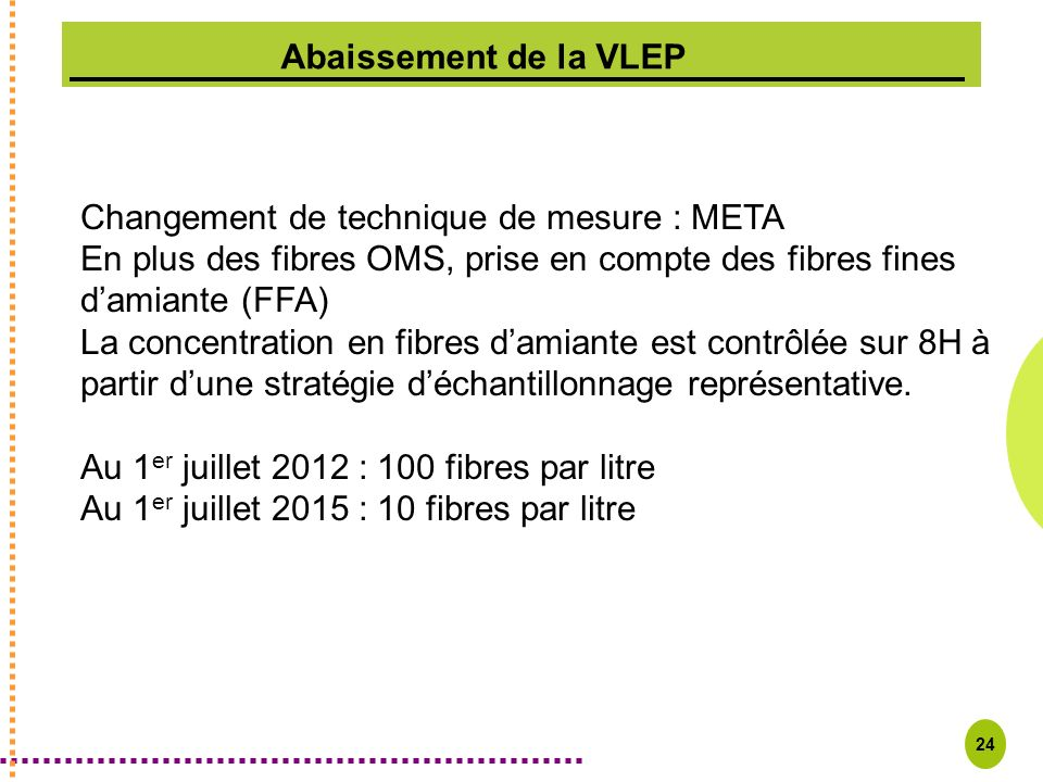 24 Changement de technique de mesure : META En plus des fibres OMS, prise en compte des fibres fines damiante (FFA) La concentration en fibres damiant