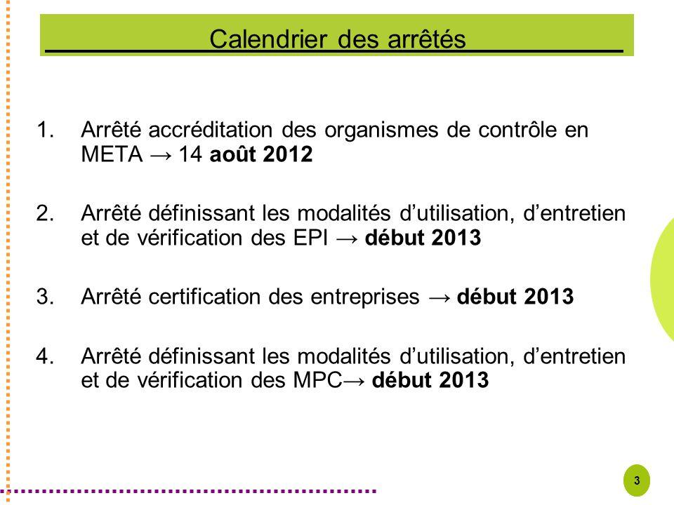 3 1.Arrêté accréditation des organismes de contrôle en META 14 août 2012 2.Arrêté définissant les modalités dutilisation, dentretien et de vérificatio