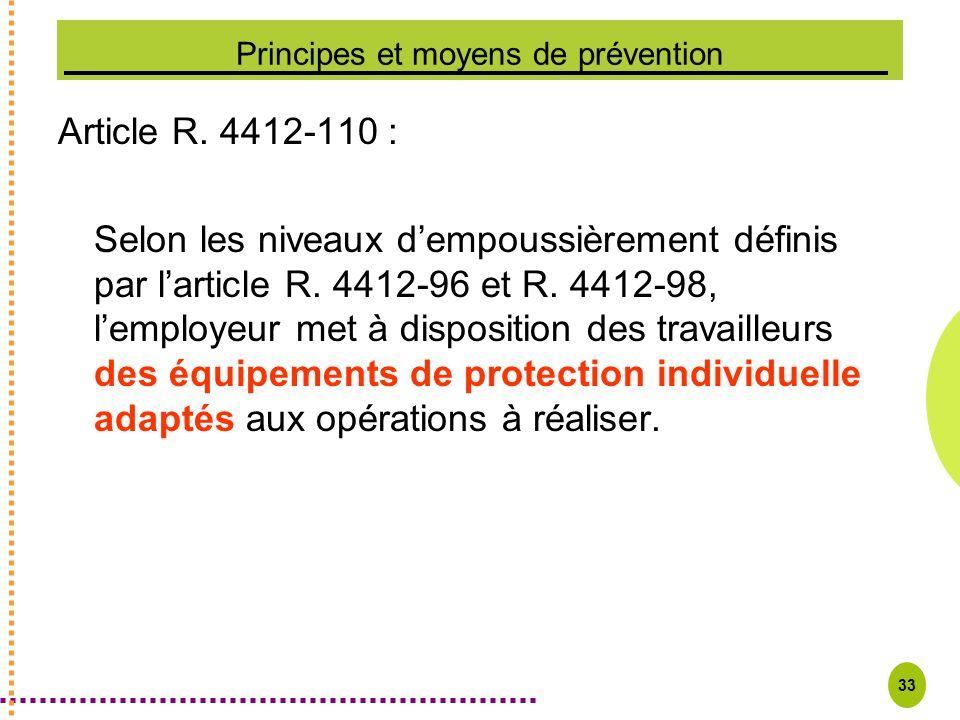 33 Principes et moyens de prévention Article R. 4412-110 : Selon les niveaux dempoussièrement définis par larticle R. 4412-96 et R. 4412-98, lemployeu