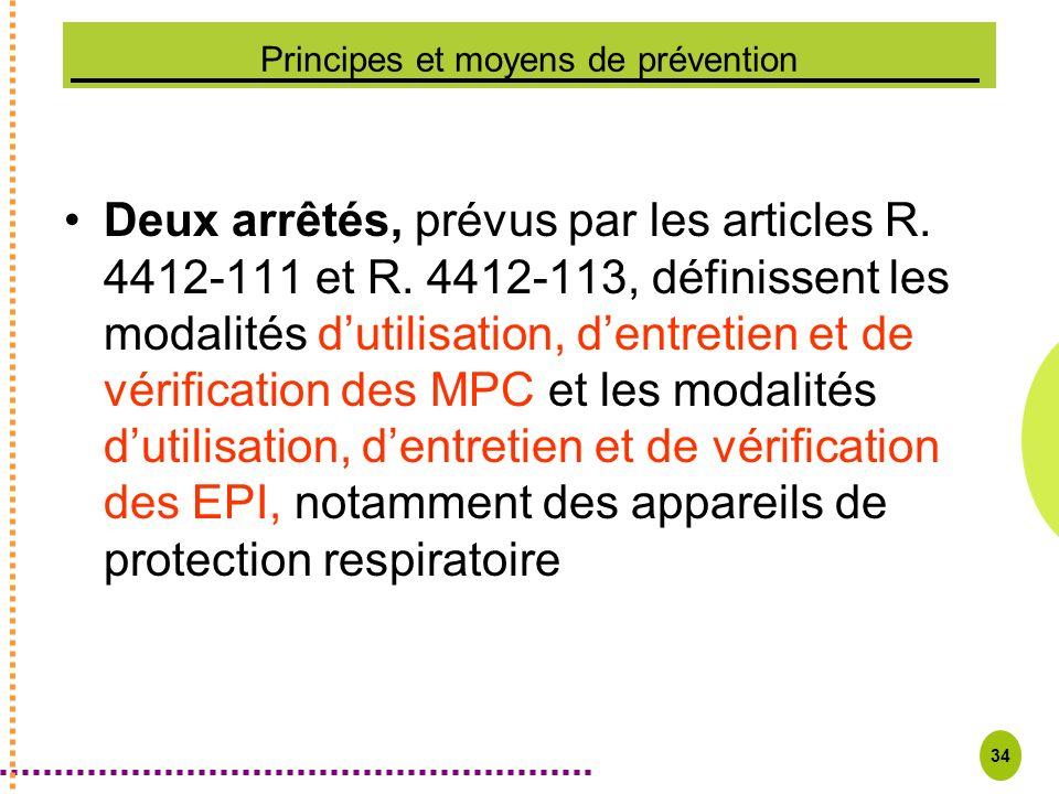 34 Principes et moyens de prévention Deux arrêtés, prévus par les articles R. 4412-111 et R. 4412-113, définissent les modalités dutilisation, dentret