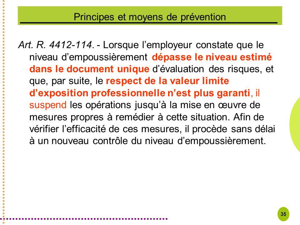 35 Principes et moyens de prévention Art. R. 4412-114. - Lorsque lemployeur constate que le niveau dempoussièrement dépasse le niveau estimé dans le d