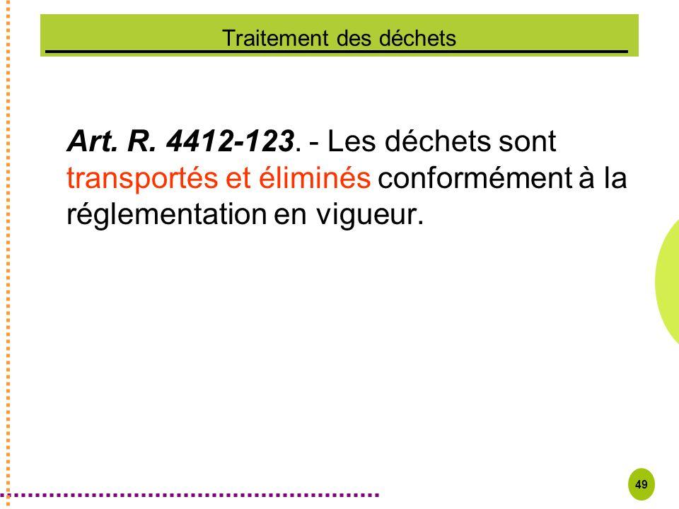 49 Traitement des déchets Art. R. 4412-123. - Les déchets sont transportés et éliminés conformément à la réglementation en vigueur.