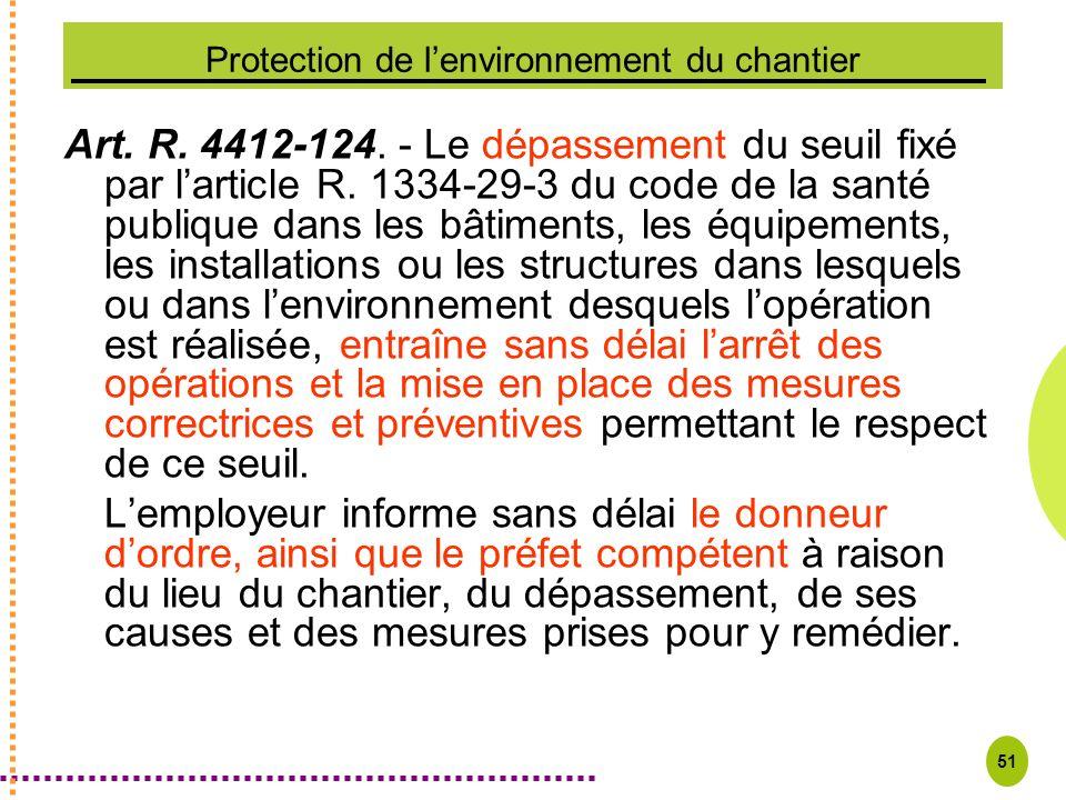 51 Protection de lenvironnement du chantier Art. R. 4412-124. - Le dépassement du seuil fixé par larticle R. 1334-29-3 du code de la santé publique da