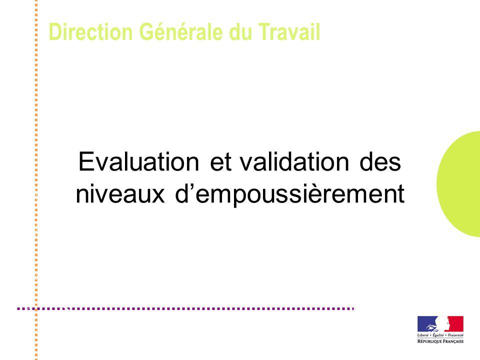 Direction Générale du Travail Evaluation et validation des niveaux dempoussièrement