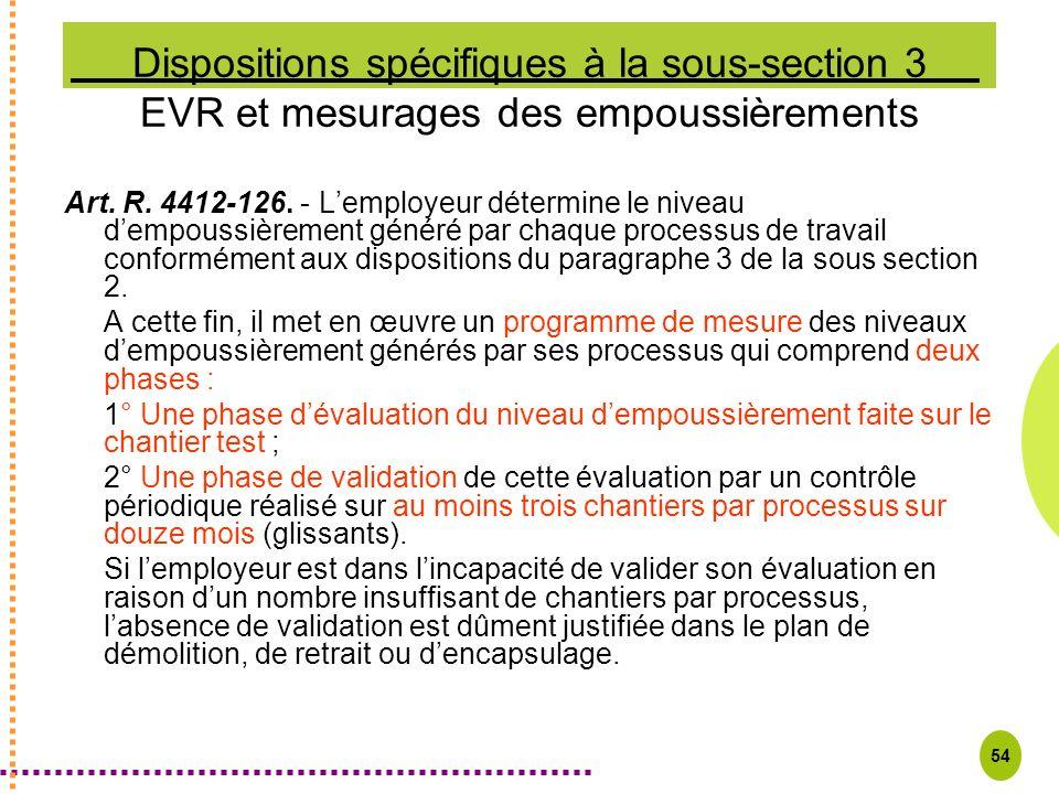 54 Dispositions spécifiques à la sous-section 3 EVR et mesurages des empoussièrements Art. R. 4412-126. - Lemployeur détermine le niveau dempoussièrem