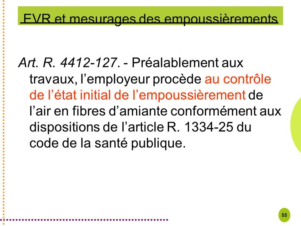 55 EVR et mesurages des empoussièrements Art. R. 4412-127. - Préalablement aux travaux, lemployeur procède au contrôle de létat initial de lempoussièr