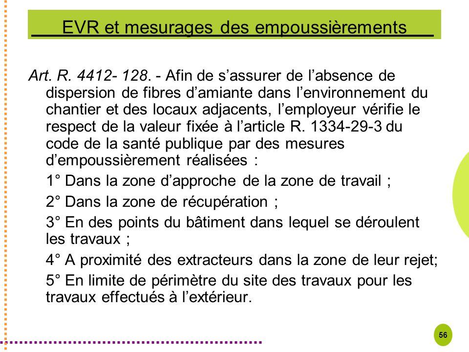 56 EVR et mesurages des empoussièrements Art. R. 4412- 128. - Afin de sassurer de labsence de dispersion de fibres damiante dans lenvironnement du cha