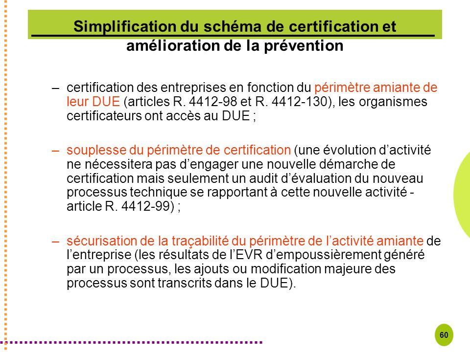 60 Simplification du schéma de certification et amélioration de la prévention –certification des entreprises en fonction du périmètre amiante de leur