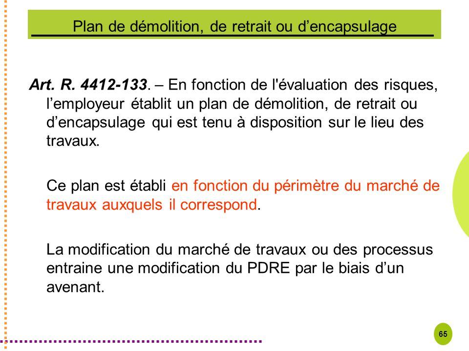 65 Plan de démolition, de retrait ou dencapsulage Art. R. 4412-133. – En fonction de l'évaluation des risques, lemployeur établit un plan de démolitio