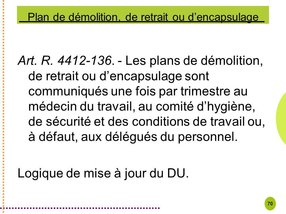 70 Plan de démolition, de retrait ou dencapsulage Art. R. 4412-136. - Les plans de démolition, de retrait ou dencapsulage sont communiqués une fois pa