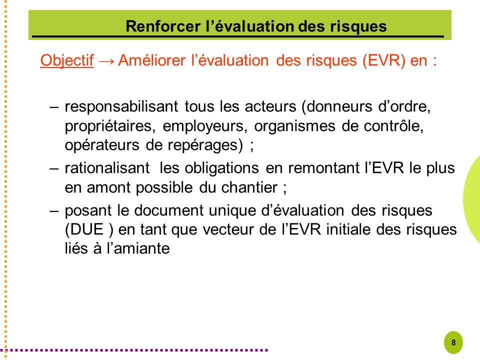 8 Objectif Améliorer lévaluation des risques (EVR) en : –responsabilisant tous les acteurs (donneurs dordre, propriétaires, employeurs, organismes de