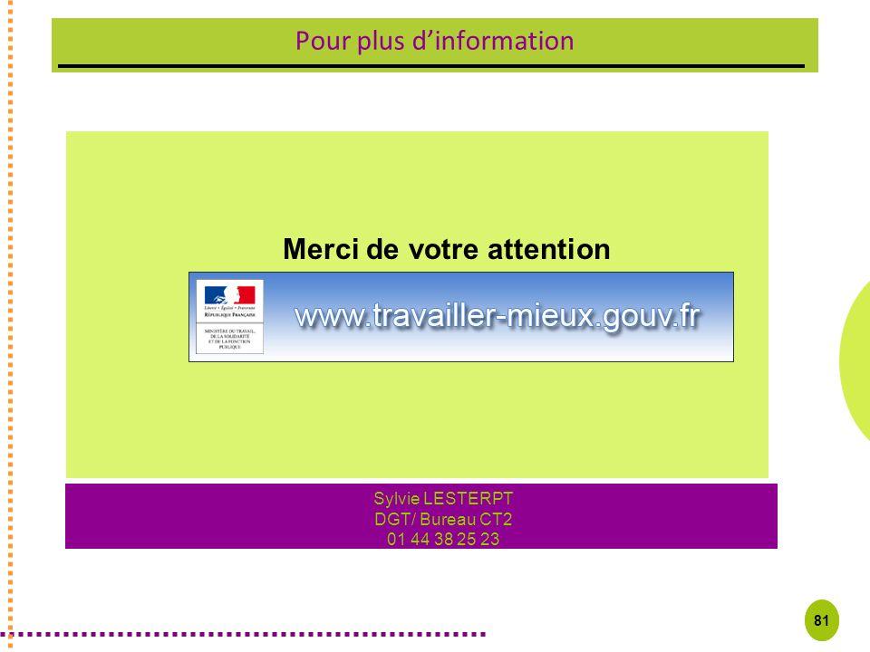 81 Pour plus dinformation Merci de votre attention Sylvie LESTERPT DGT/ Bureau CT2 01 44 38 25 23 81