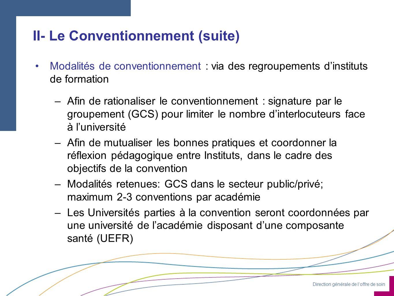 Direction générale de loffre de soin II- Le Conventionnement (suite) Modalités de conventionnement : via des regroupements dinstituts de formation –Afin de rationaliser le conventionnement : signature par le groupement (GCS) pour limiter le nombre dinterlocuteurs face à luniversité –Afin de mutualiser les bonnes pratiques et coordonner la réflexion pédagogique entre Instituts, dans le cadre des objectifs de la convention –Modalités retenues: GCS dans le secteur public/privé; maximum 2-3 conventions par académie –Les Universités parties à la convention seront coordonnées par une université de lacadémie disposant dune composante santé (UEFR)