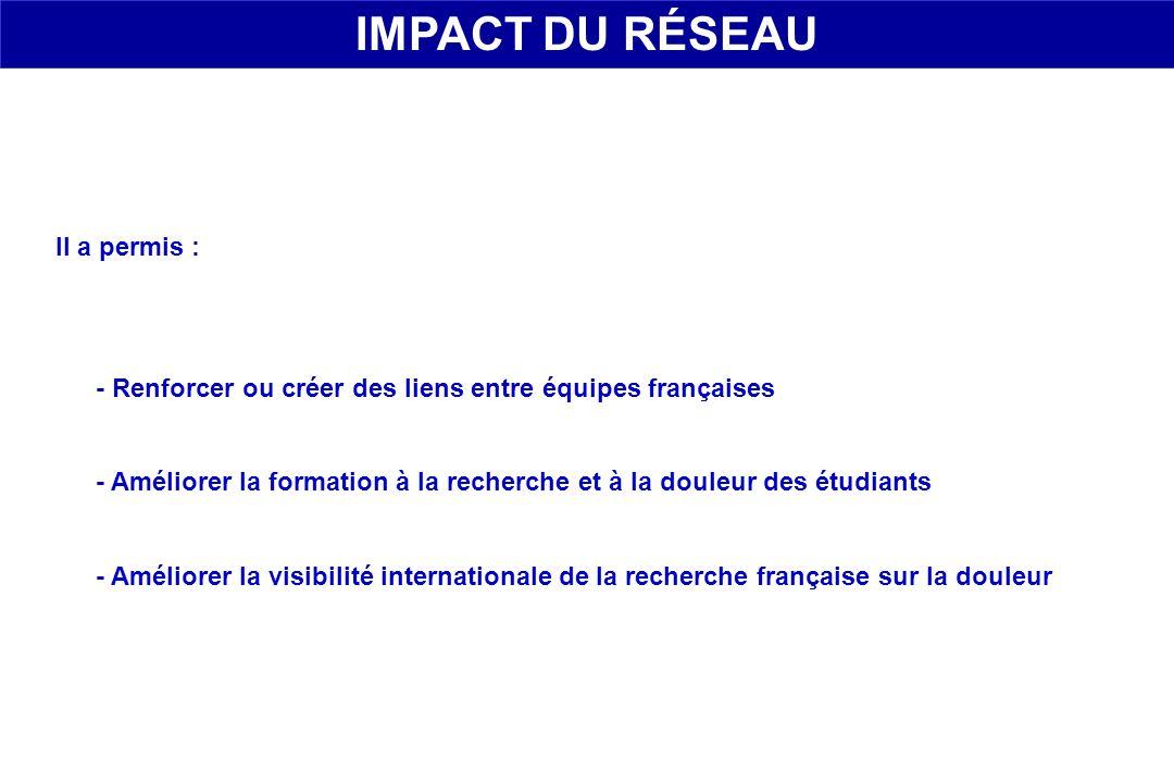 Il a permis : - Renforcer ou créer des liens entre équipes françaises - Améliorer la formation à la recherche et à la douleur des étudiants - Améliore