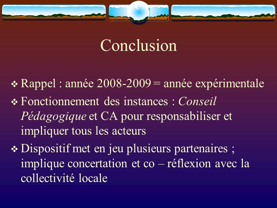 Conclusion Rappel : année 2008-2009 = année expérimentale Fonctionnement des instances : Conseil Pédagogique et CA pour responsabiliser et impliquer tous les acteurs Dispositif met en jeu plusieurs partenaires ; implique concertation et co – réflexion avec la collectivité locale