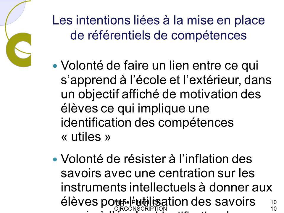 Michel Piférini IEN CIRCONSCRIPTION AJACCIO 1 Les intentions liées à la mise en place de référentiels de compétences Volonté de faire un lien entre ce