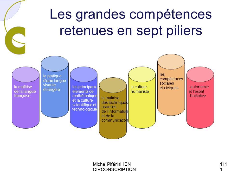 Les grandes compétences retenues en sept piliers Michel Piférini IEN CIRCONSCRIPTION AJACCIO 1 111111 la maîtrise de la langue française la pratique d