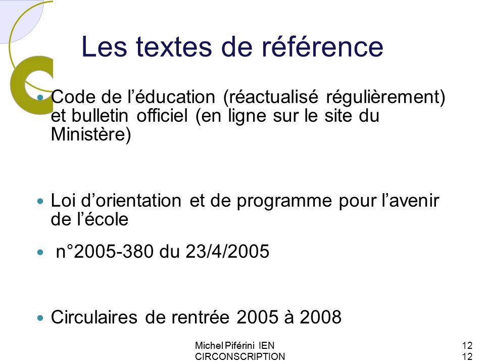 Michel Piférini IEN CIRCONSCRIPTION AJACCIO 1 Les textes de référence Code de léducation (réactualisé régulièrement) et bulletin officiel (en ligne su