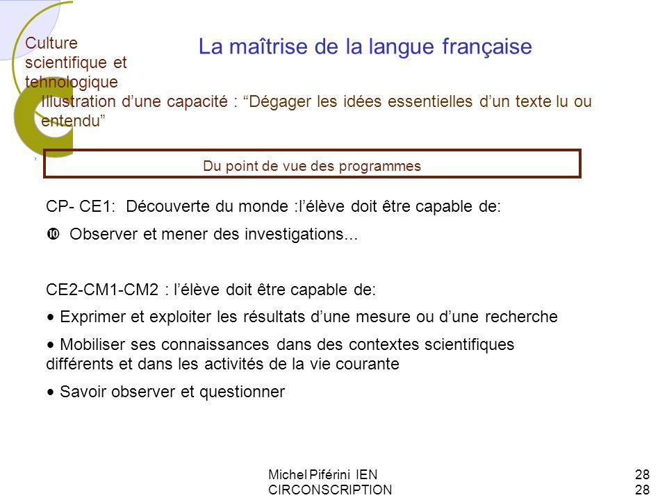 Michel Piférini IEN CIRCONSCRIPTION AJACCIO 128 Culture scientifique et tehnologique, La maîtrise de la langue française Illustration dune capacité :