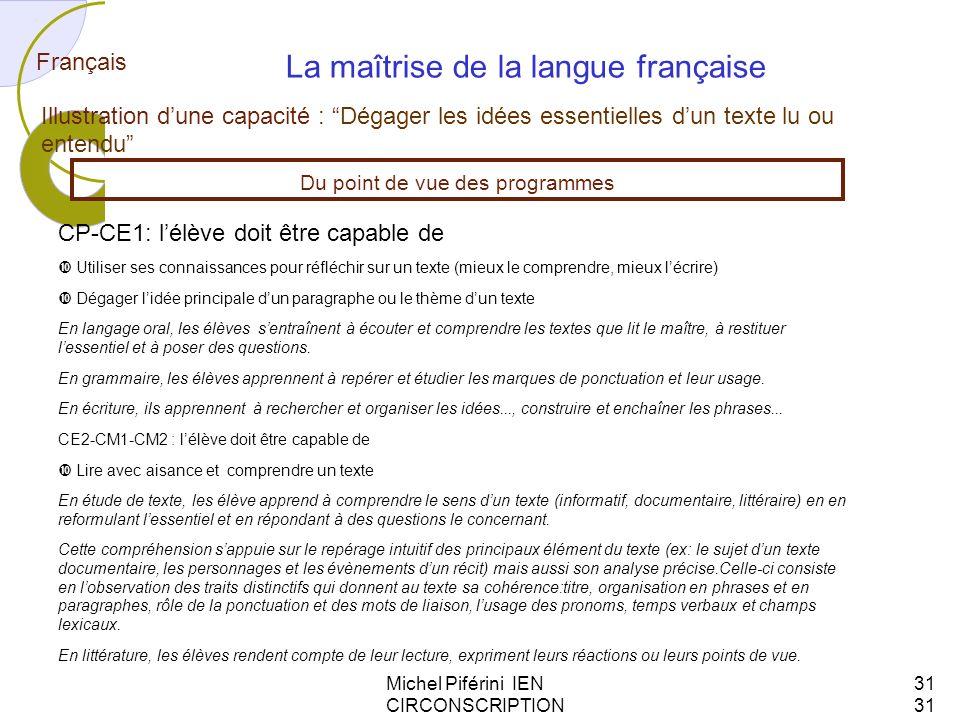 Michel Piférini IEN CIRCONSCRIPTION AJACCIO 131 Français La maîtrise de la langue française Illustration dune capacité : Dégager les idées essentielle