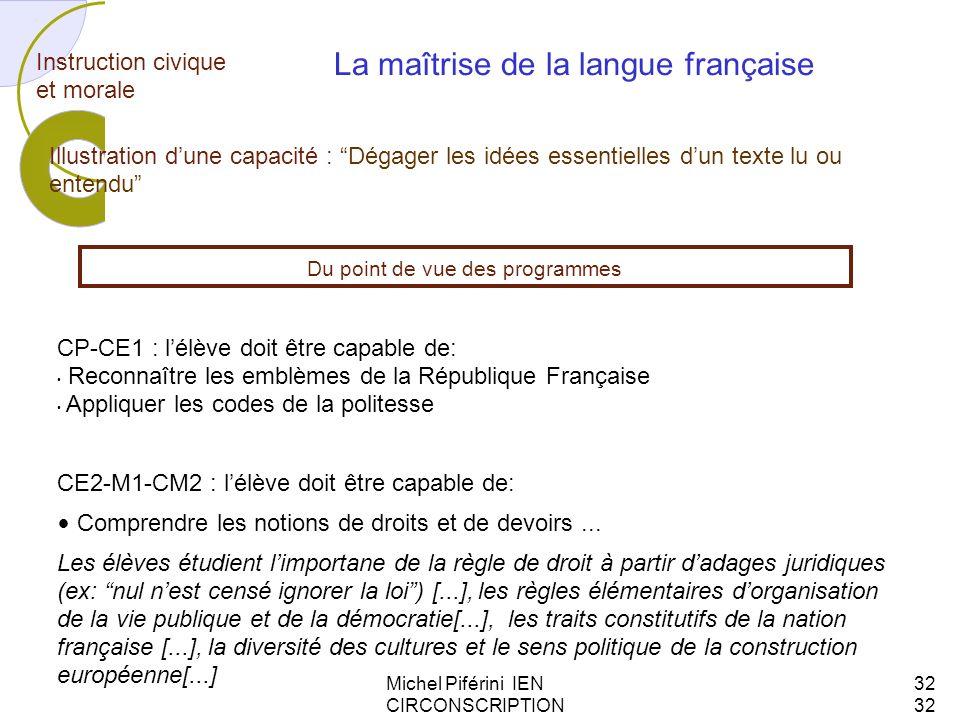Michel Piférini IEN CIRCONSCRIPTION AJACCIO 132 Instruction civique et morale CP-CE1 : lélève doit être capable de: Reconnaître les emblèmes de la Rép