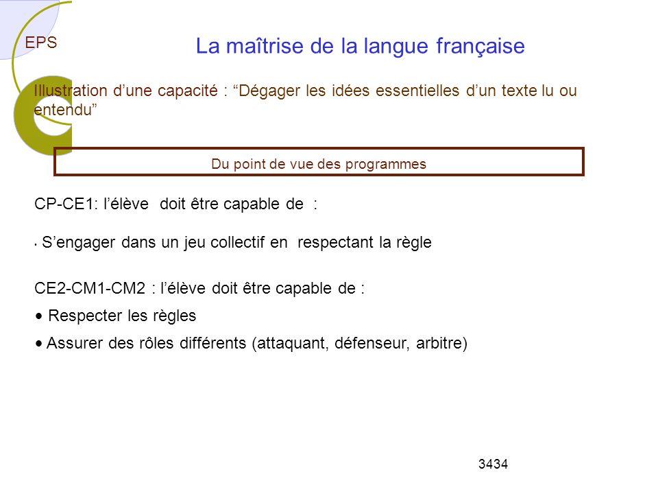 3434 EPS Illustration dune capacité : Dégager les idées essentielles dun texte lu ou entendu La maîtrise de la langue française CP-CE1: lélève doit êt