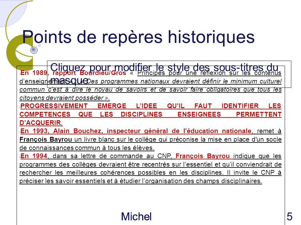 Cliquez pour modifier le style des sous-titres du masque Michel Piférini IEN CIRCONSC RIPTION AJACCIO 1 Points de repères historiques En 1989, rapport