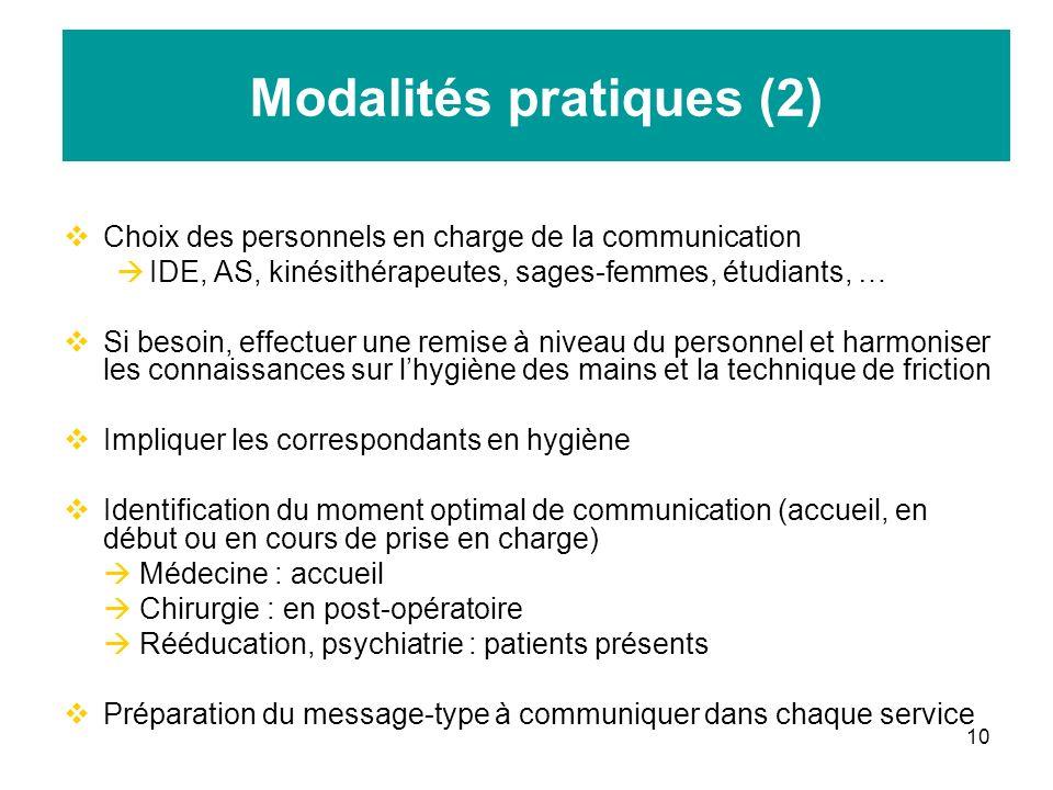 10 Modalités pratiques (2) Choix des personnels en charge de la communication IDE, AS, kinésithérapeutes, sages-femmes, étudiants, … Si besoin, effect