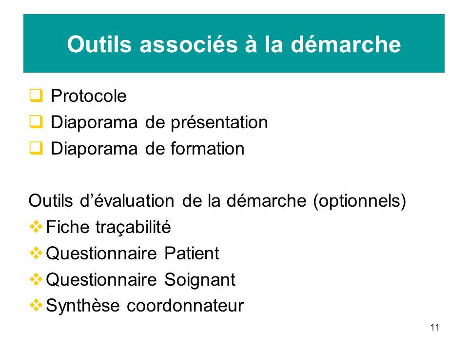 11 Outils associés à la démarche Protocole Diaporama de présentation Diaporama de formation Outils dévaluation de la démarche (optionnels) Fiche traça